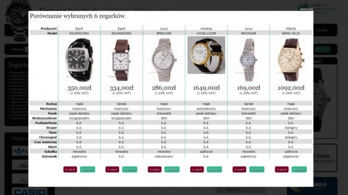 zrzut ekranu nr 3 dla realizacji Sklep z zegarkami najlepszych marek