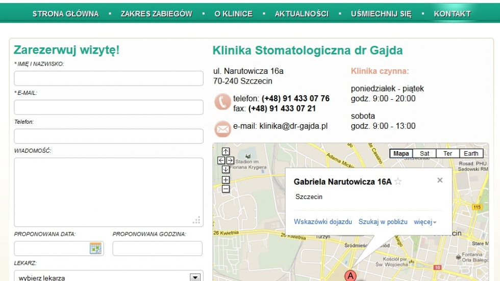 strony internetowe - podląg dla Strona www dla kliniki stomatologicznej nr 2