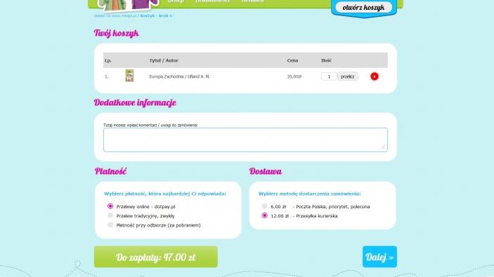 zrzut ekranu nr 2 dla realizacji Meiga - pozytywna księgarnia internetowa