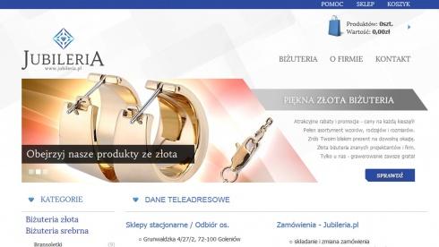 zrzut ekranu nr 1 dla realizacji Jubileria - sklep internetowy