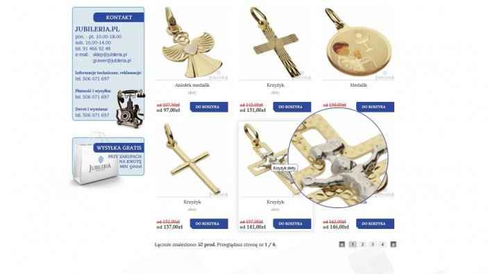 zrzut ekranu nr 2 dla realizacji Jubileria - sklep internetowy