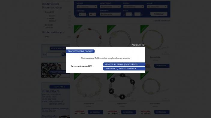 zrzut ekranu nr 5 dla realizacji Jubileria - sklep internetowy