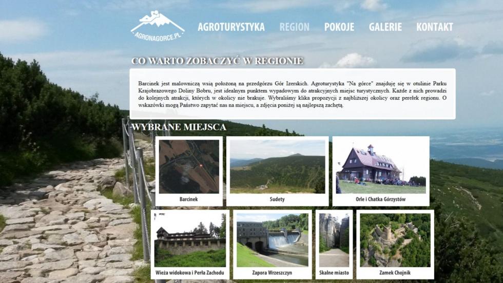 strony internetowe - podląg dla Agroturystyka Barcinek, Tani nocleg w Sudetach nr 3