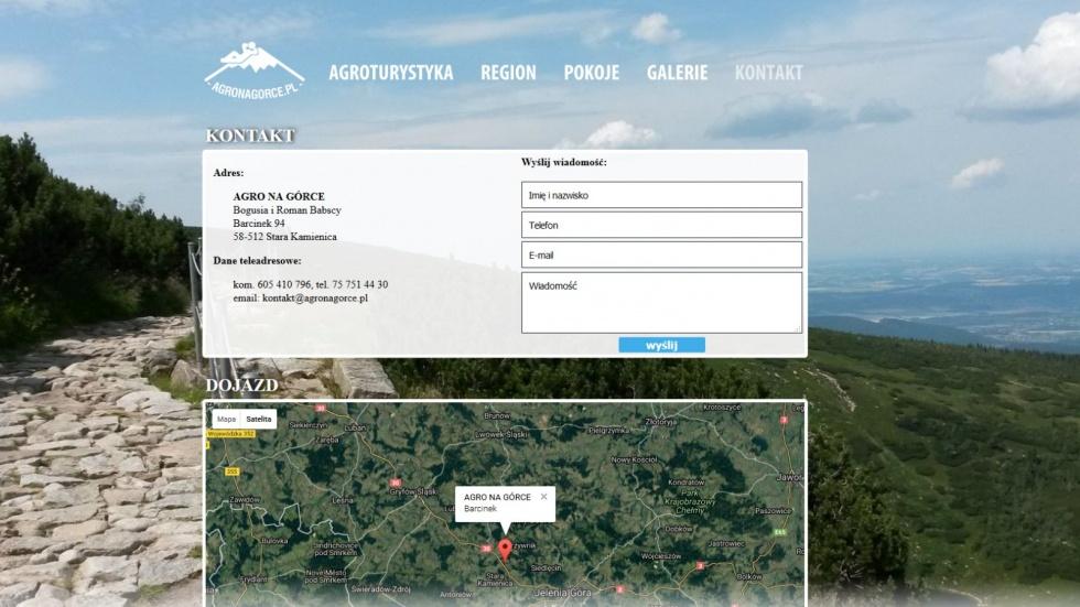 strony internetowe - podląg dla Agroturystyka Barcinek, Tani nocleg w Sudetach nr 2